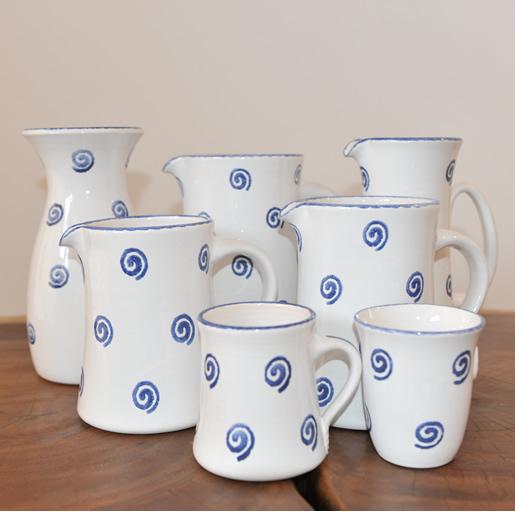 Ton Keramik Unterschied em kin keramik spirale blau