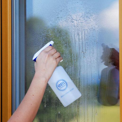 Fenster putzen mit Effektiven Mikroorganismen aus der Sprühflasche