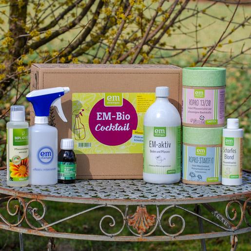 Bio-Cocktail-Set im Karton für Anwendungen im Garten - Blattspritzungen Mehltau, Buxbaumzünsler, Rosenrost, Blattkrankheiten und vieles mehr