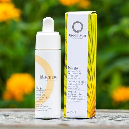Bioemsan tai yo Sonnenpflegeöl in der 50 ml Pumpflasche für natürlich schöne Bräune