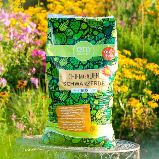 Chiemgauer Schwarzerde in Bio-Qualität und Torffrei im 40 Liter Sack