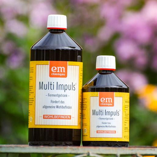 Multi Impuls Fermentgetränk zur Unterstützung des allgemeinen Wohlbefindens erhältlich im 1 L Gebinde oder 0,5L Gebinde