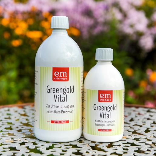 Greengold Vital zur Unterstützung lebendiger Prozesse erhältlich in der 1 Liter oder 0,5 Liter Flasche