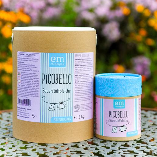 Picobello Sauerstoffbleiche erhältlich in der 600 Gramm Pappdose und in der 3 Kilo Papptrommel bei Fischers Hausmittel
