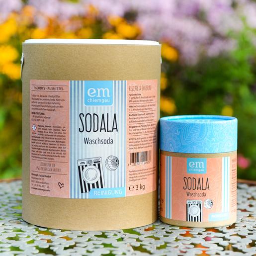 Sodala Waschsoda erhältlich in der 3 Kilo Papptrommel oder in der 450 Gramm Pappdose bei Fischers Hausmittel