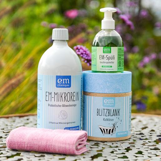 Putz-Set Saubere Sache mit 1 L EM-Mikrorein, 250 ml Spüli, 550 g Kalklöser und einem rosanen Spültuch